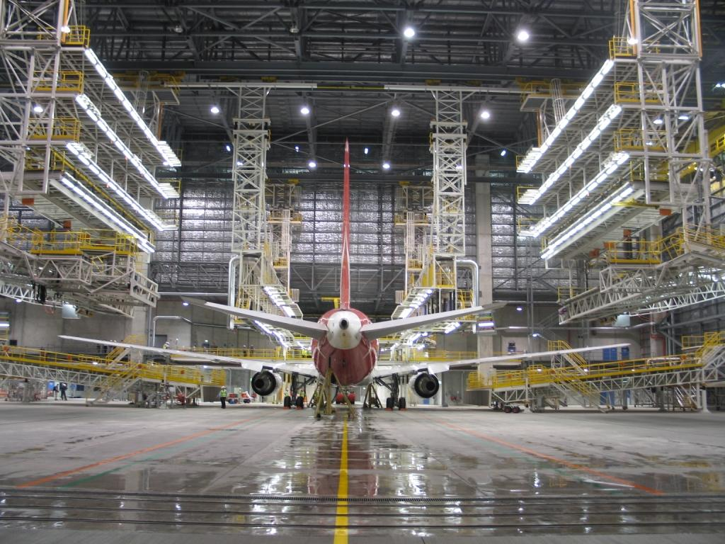plan for an aircraft maintenance hanger project By 2012, the plans for the new asb hangar were well under way  as the  project was completed in 2015, platinum certification was achieved without   parts and tool storage, over 86,500 square feet of aircraft maintenance bays,  58,000.